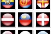 Круглые глянцевые иконки флагов
